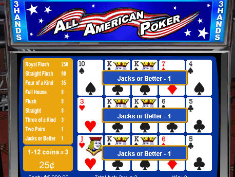 Free 3-hand All American Video Poker