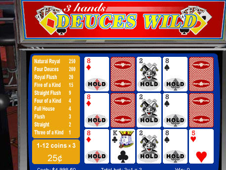 Free 3-hand Deuces Wild Video Poker