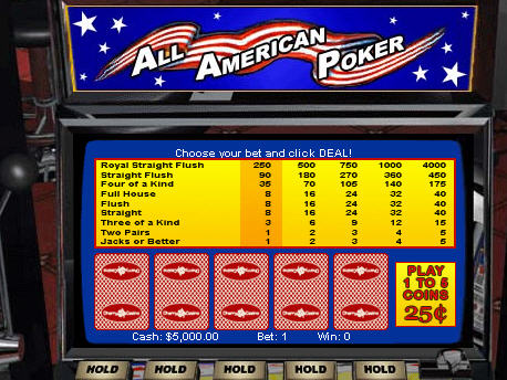 Free All American Video Poker