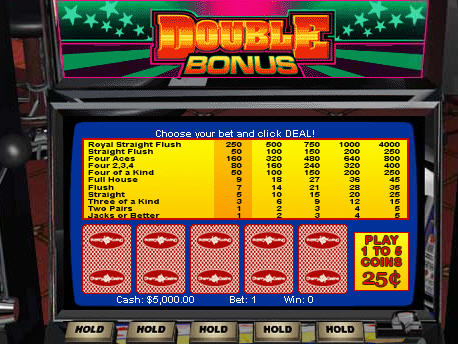 Free Double Bonus Video Poker